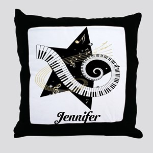 Music star gold black Throw Pillow
